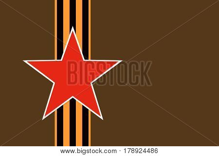 Red star of Soviet and Russian armed forces with vertical St. George ribbon on dark green khaki protective camouflage background. Symbols may 9 victory day and Fatherland defender's day February 23.
