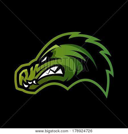 Furious alligator head sport vector logo concept isolated on dark background. Professional team predator badge modern design. Premium quality wild animal t-shirt tee print illustration.