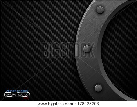Vector black carbon fiber background with dark grunge metal ring and rivet. Scratched riveted surface heavy industrial design illustration