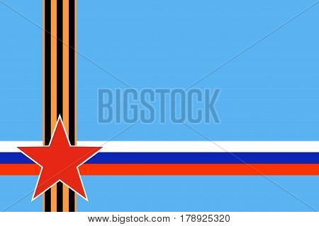 Red star of Russian armed forces with intersection St. George ribbon and Russian flag on blue background. Symbols may 9 victory day and Fatherland defender's day February 23. Image with copy space.