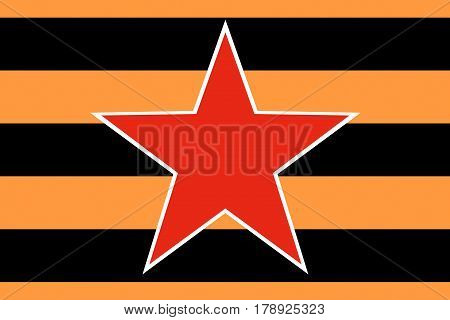 Red star of the Soviet and Russian armed forces on the background of the St. George ribbon closeup.