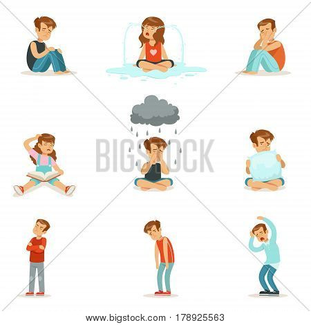Children negative emotions, expression of different moods. Cartoon detailed colorful Illustrations isolated on white background