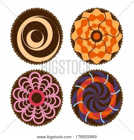 Cupcakes with beautiful decoration isolated over white background. Shoot from top view homemade sweet cake. Chocolate baked snack tasty homemade muffin bakery cupcake food vector illystration.