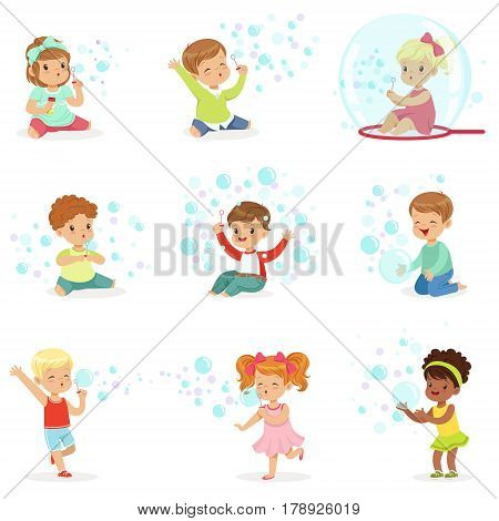 Children playing with colorful soap bubbles, holiday show of soap bubbles at a children party. Cartoon detailed colorful Illustrations isolated on white background