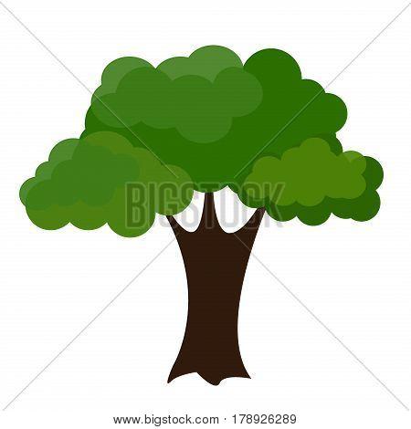 Cartoon garden green tree vector illustration. Natural plant leaf summer green trees season foliage. Nature environment green trees organic spring forest garden abstract wood park.