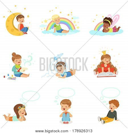 Happy kids dreaming and fantasizing. Cartoon detailed colorful Illustrations isolated on white background