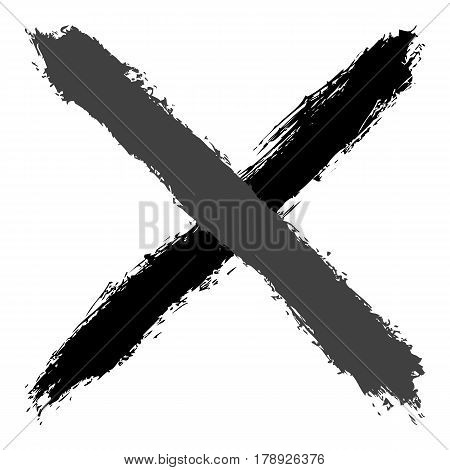 Grayscale crosswise brushstroke paint created in sketch drawing handmade technique. Quick and easy recolorable vector illustration graphic element