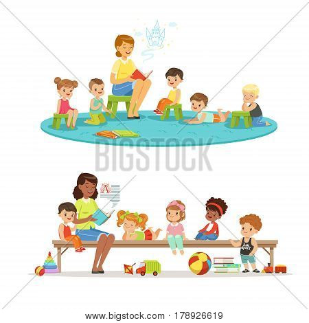 Group of preschool kids and teacher. Teacher reading for kids in the kindergarten. Cartoon detailed colorful Illustrations isolated on white background