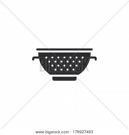 Colander icon vector pasta strainer solid flat sign pictogram isolated on white logo illustration