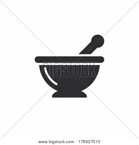 Mortar and pestle icon vector Kitchen pounder solid flat sign pictogram isolated on white logo illustration