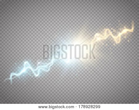 Collision of two forces with gold and blue light. Vector illustration. Hot and cold sparkling power. Energy lightning with explosion and many shine particles