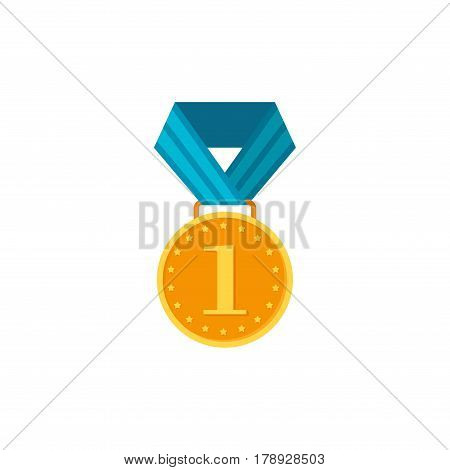 Gold medal with blue ribbon isolated on a white background. Award gold winner prize icon vector illustration in flat tyle