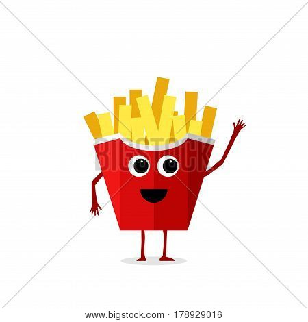 Funny and cute French fries character isolated on white background. French fries with smiling human face vector illustration. Kids restaurant menu