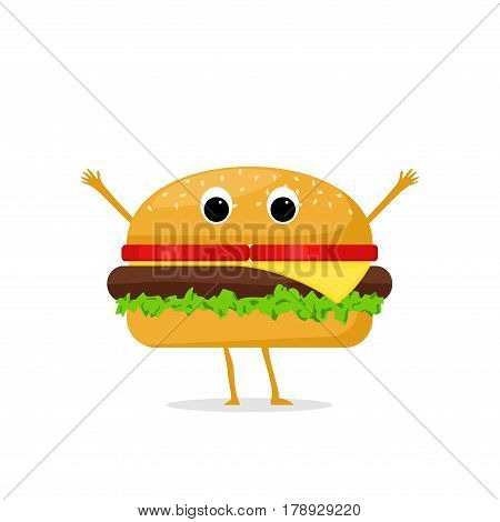 Funny and cute Hamburger character isolated on white background. Hamburger with smiling human face vector illustration. Kids restaurant menu