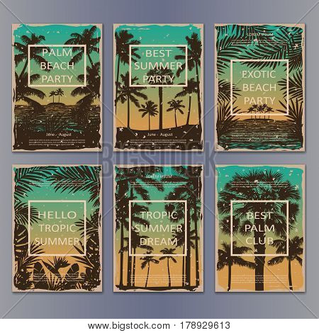 Tropic vintage posters set with palms and frame for text. Collection of retro mock up for book, brochures, flyers and advertising size A4.