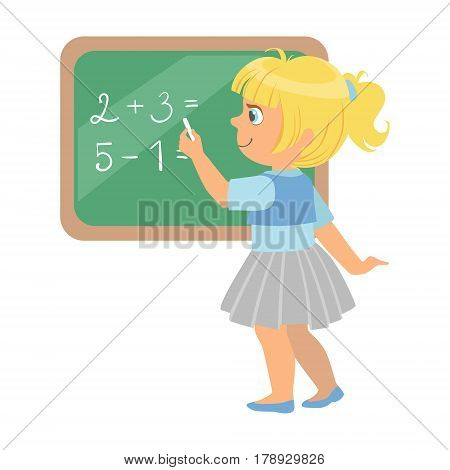 Cute little schoolgirl standing near the blackboard and writing mathematical examples, education and back to school concept, a colorful character isolated on a white background