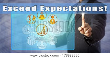 Blue chip business coach calling out to Exceed Expectations! Call to action and motivational concept for peak performance personal development goal setting increased productivity HR management.