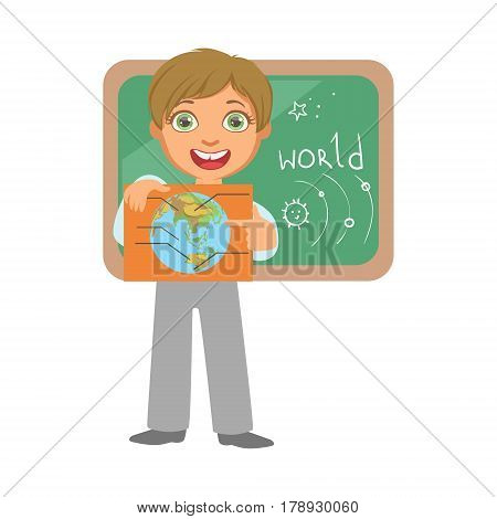 Smiling schoolboy with globe at the black chalkboard in classroom, education and back to school concept, a colorful character isolated on a white background