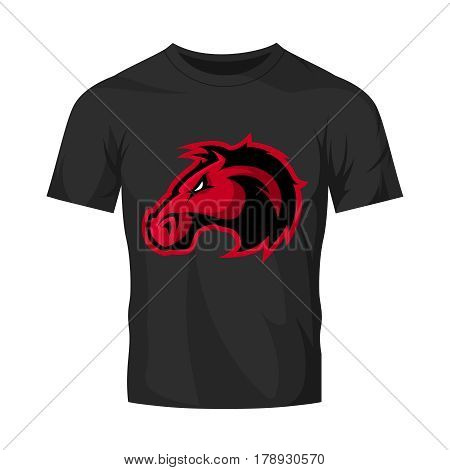 Furious horse head sport club vector logo concept isolated on black t-shirt mockup. Modern professional team badge design. Premium quality wild stallion animal t-shirt tee print illustration design.