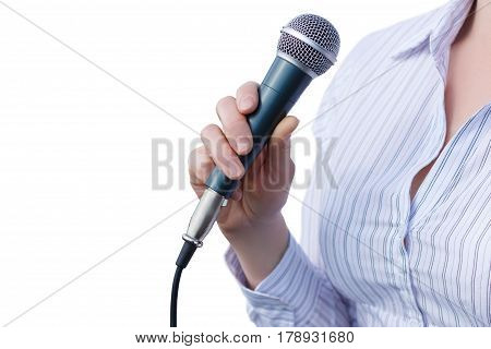 Businesswoman With Microphone .