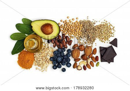 Mixed fresh healthy food on white background
