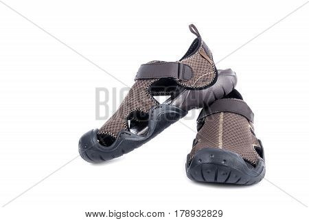 Men's Brown Water Shoes Isolated on White