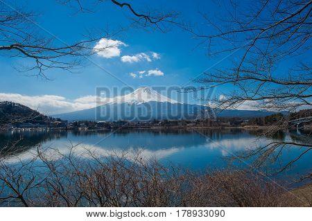 Mount Fuji with Kawaguchiko Lake Winter time