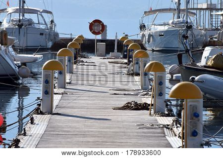 modern marina, with all necessary equipment and installations