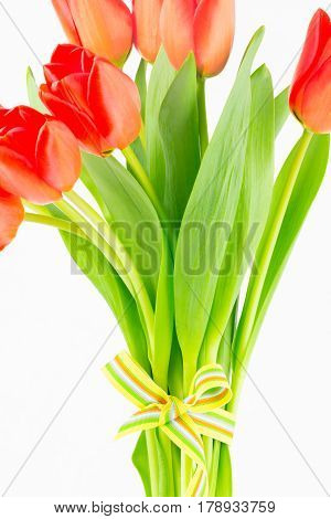 Close up of handtied tulip bouquet with focus on stems and leaves. Conceptual image with copy space.