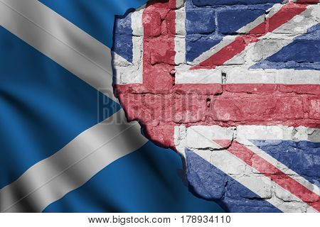 Flags of the United Kingdom and Scotland illustrating a possible break of Scotland from the United Kingdom