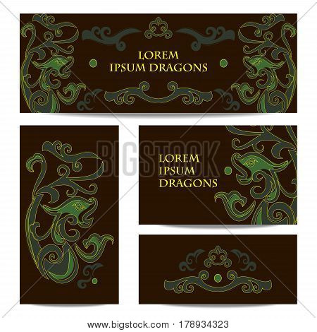 Dragon in Chinese style. Set of banners of green and brown colors in the style of jade stones.