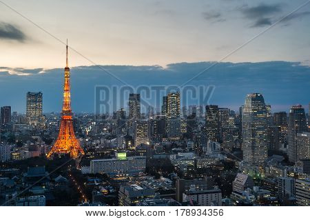 Tokyo city skyline with Tokyo Tower Tokyo Japan