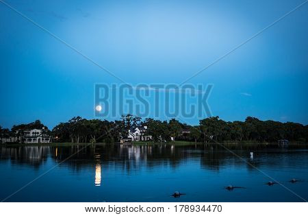 Moonlight Reflection over Lake during Long Exposure Picture