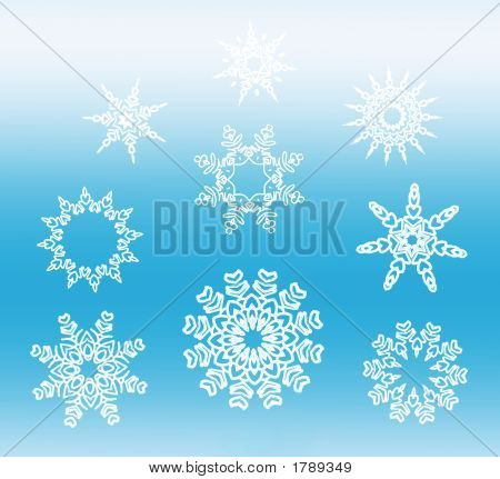 White Star Snowflakes Collection On Blue Gradient
