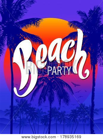 Beach party poster template with palm trees and typographic element. Summer beach vector illustration