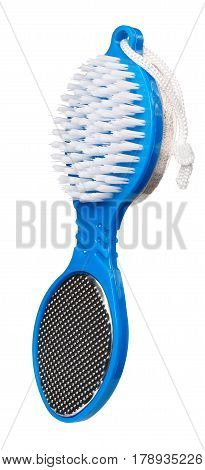 Pumice stone brush of blue color isolated on white background. Close up. Foot care.
