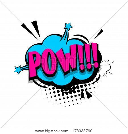 Lettering pow bang. Comics book halftone balloon. Bubble icon speech phrase. Cartoon exclusive font label tag expression. Comic text sound effects dot back. Sounds vector illustration.
