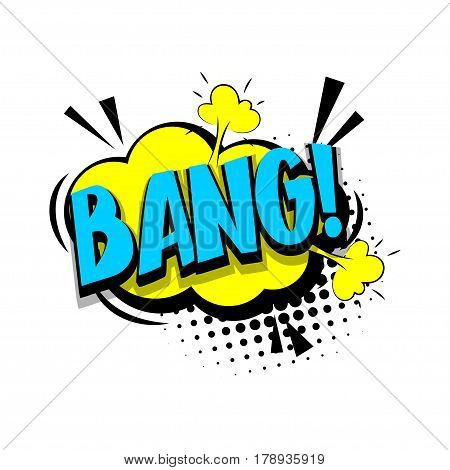 Lettering bang boom. Comics book halftone balloon. Bubble icon speech phrase. Cartoon exclusive font label tag expression. Comic text sound effects dot back. Sounds vector illustration.
