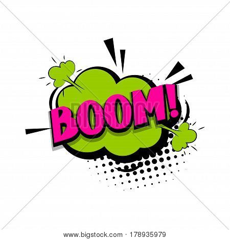 Lettering boom bang. Comics book halftone balloon. Bubble icon speech phrase. Cartoon exclusive font label tag expression. Comic text sound effects dot back. Sounds vector illustration.