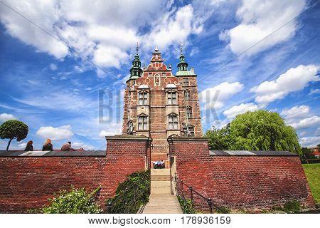COPENHAGEN DENMARK - JUNE 15: Entrance to Rosenborg Castle - build by King Christian IV in Copenhagen Denmark in 2012