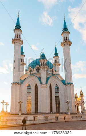 View of the mosque Kul-Sharif at a sunset. Russia, Tatarstan