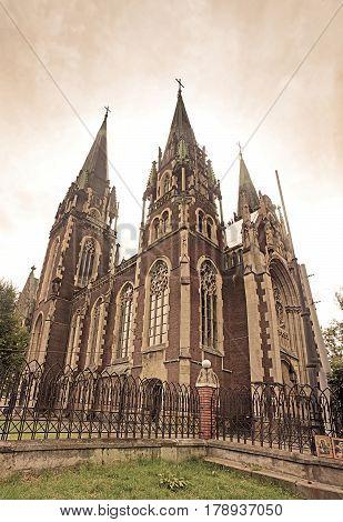 Cathedral of Saints Olga and Elizabeth (Saint Joseph Bilczewski 1903 - 1911). Lviv, Ukraine. Church was built in memory of the popular Empress (Princes) Bavarian Elizabeth (Habsburg), known as Sisi. Vintage filter