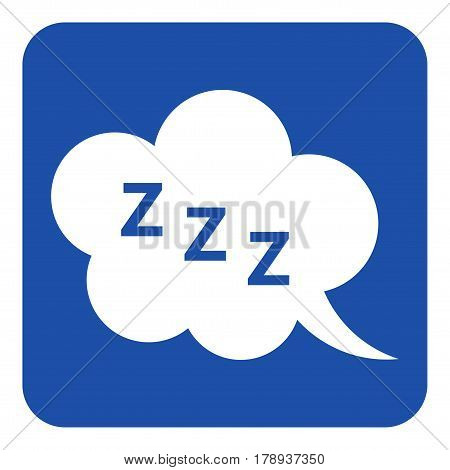 blue rounded square information road sign with white ZZZ speech bubble icon
