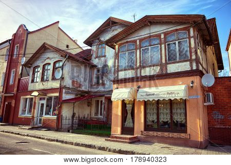 ZELENOGRADSK (KALININGRAD REGION), RUSSIA - MAR 21, 2017: Old German architecture, street landscape of the city Zelenogradsk.After WW II, the German town of Cranz became part of the Russian Federation