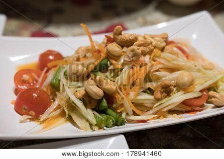 Som Tum, Thai Papaya Salad Served On Plate.