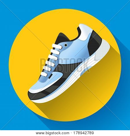 fitness sneakers shoes for training running shoe flat design with long shadow. Fitness app