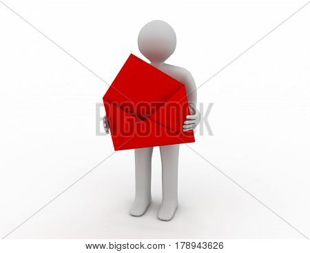 postman with open envelope. Isolated 3D image . rendered illustration