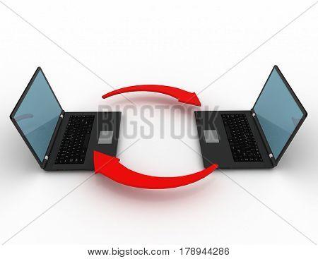 Laptop exchange on white background. rendered illustration