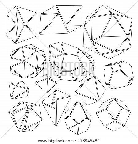 Freehand drawing geometry group with frame. Simple isolated geometric black and white figure with handwork phrase