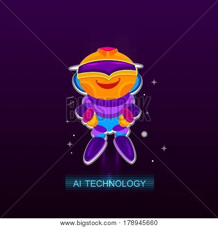 Artificial Intelligence AI , Robot joy. Chatbot vector illustration